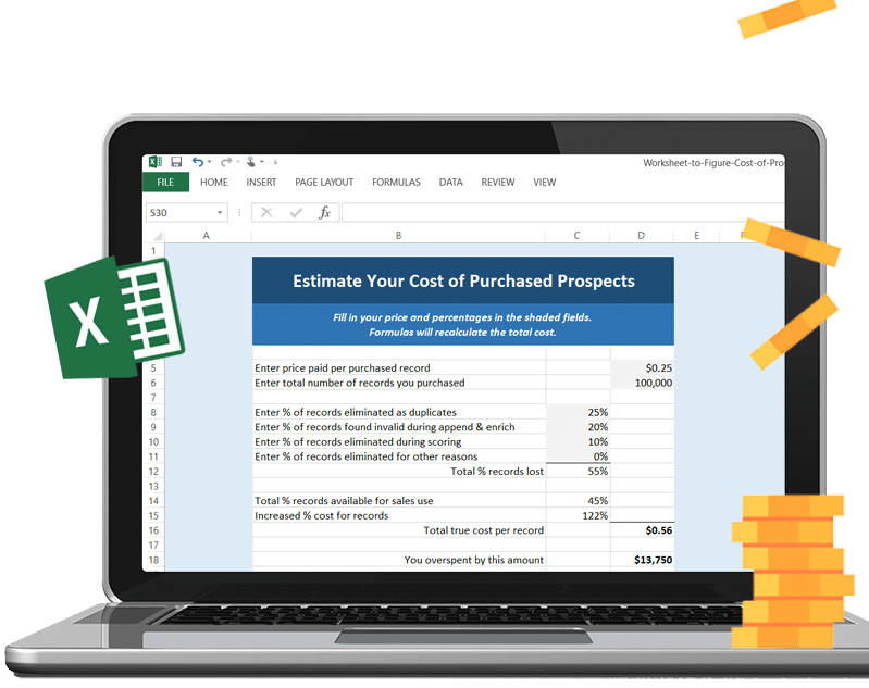 Estimate Your Cost of Purchased Prospect Lists - Excel Worksheet Download