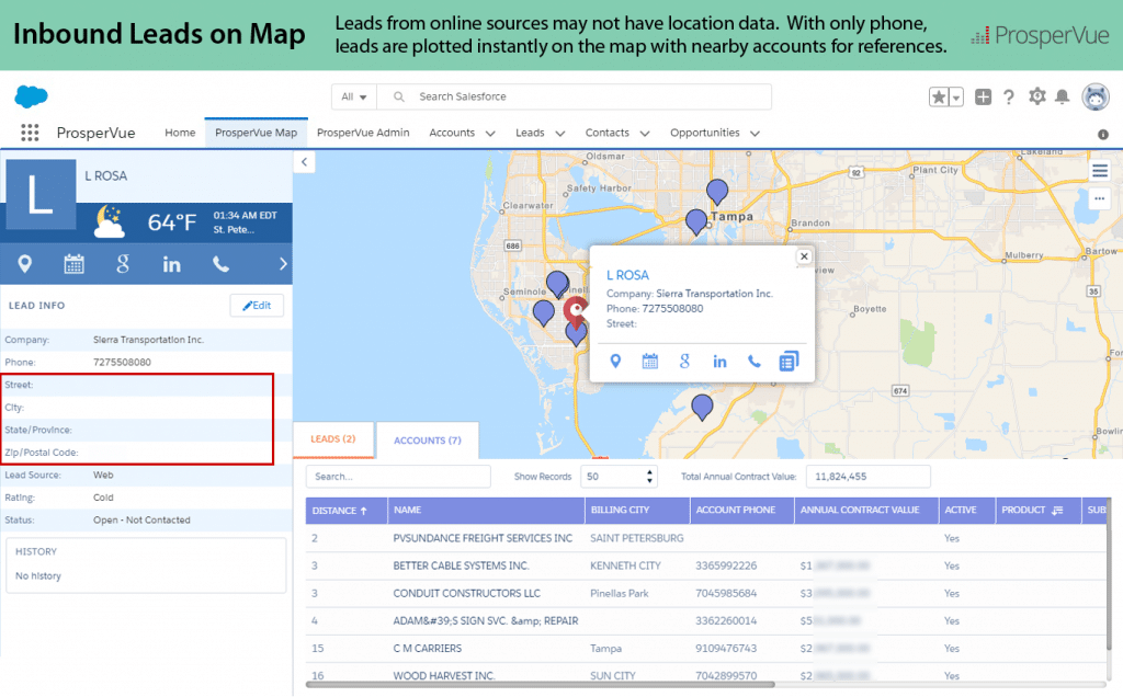 Inbound Leads on Salesforce Maps ProsperVue