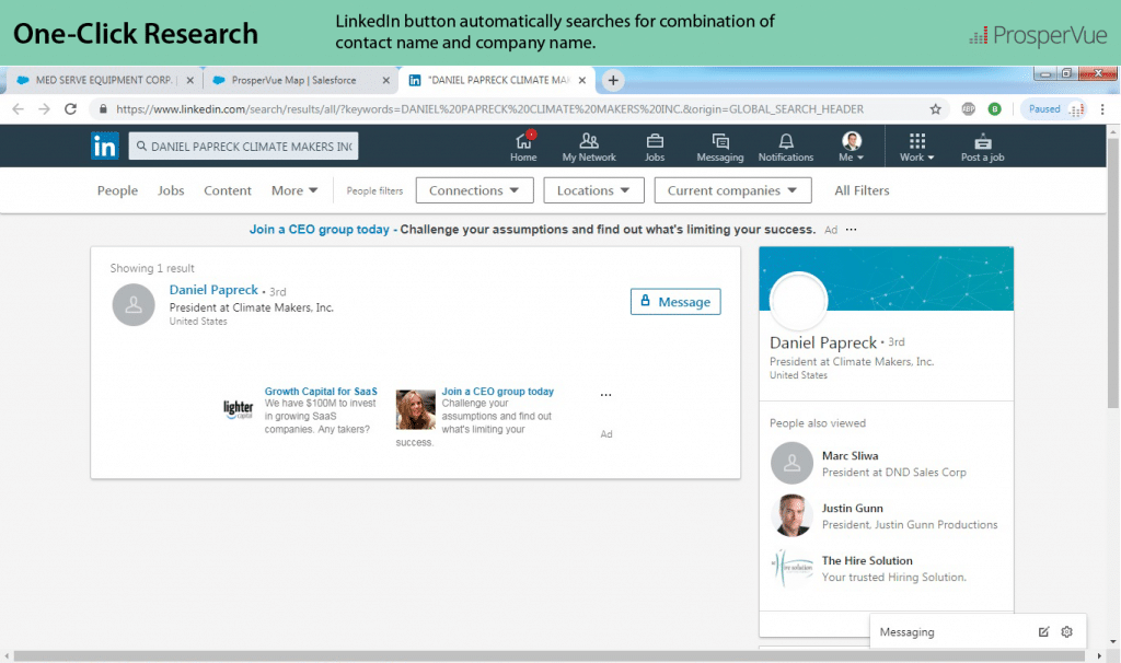 Prospect Research LInkedIn Salesforce ProsperVue Results2