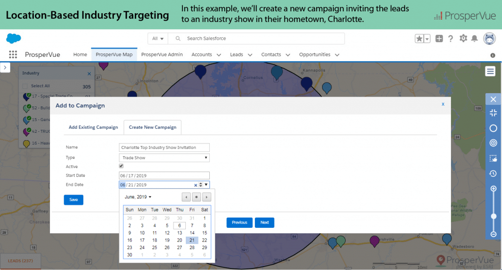 Location Based Industry Targeting with ProsperVue for Salesforce 8