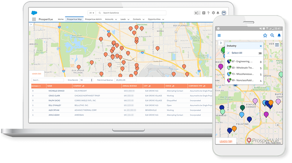 ProsperVue Sales Acceleration for Salesforce Laptop Mobile